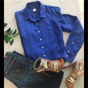 J. Crew 100% Linen Long Sleeve Button Down Shirt